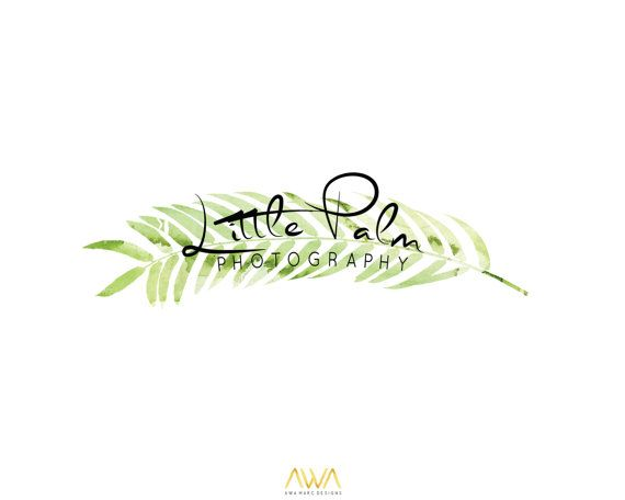 Tropical Leaf Custom Logo Design, Wreath Photography Logo, Editable Logo Design, Green Watercolor Leaves, Laurel Calligraphy Logo