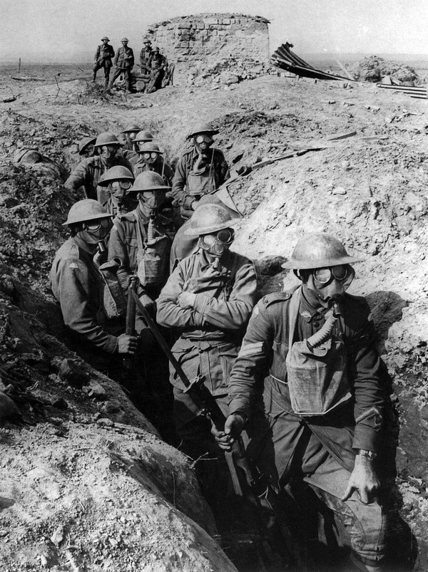 Australian soldiers wearing respirator gas masks during WWI. While under chlorine gas attacks, soldiers were instructed to urinate on their masks in order to more effectively combat the gas. However if for some reason they did not have a mask on hand, they were told to urinate on a piece of cloth and cover their face in it. Water also worked but was less effective.   Ypres, Belgium - September 27, 1917.