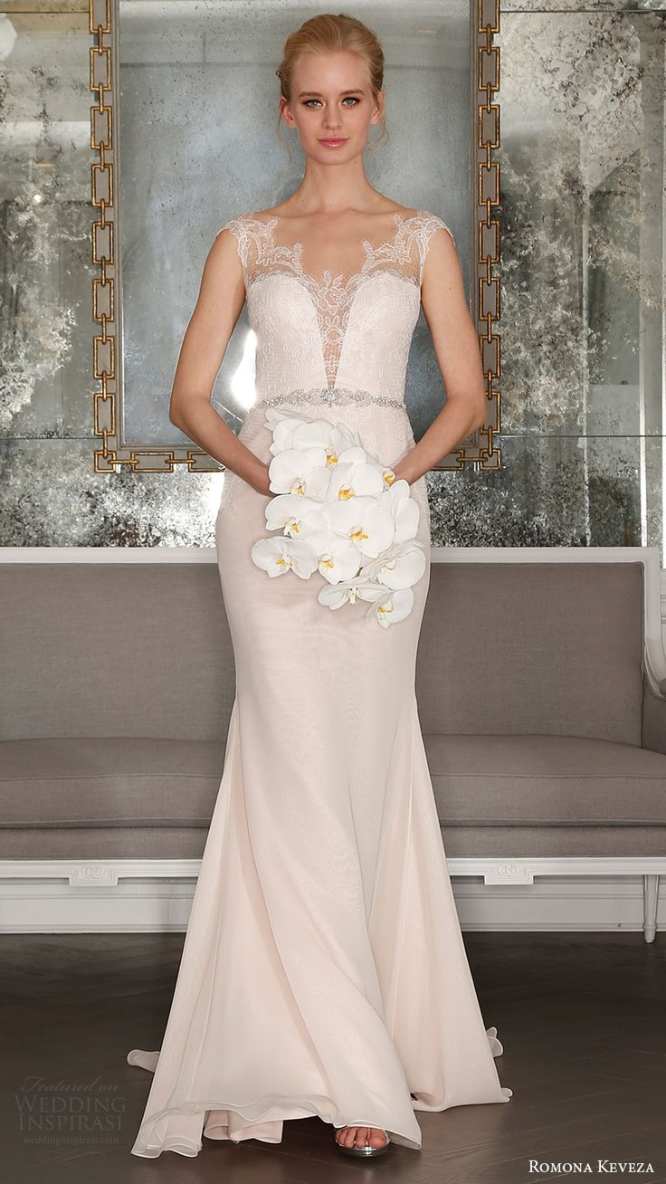 romona keveza bridal spring 2017 illusion cap sleeves sweetheart deep vneck sheath wedding dress (rk7405nt) mv