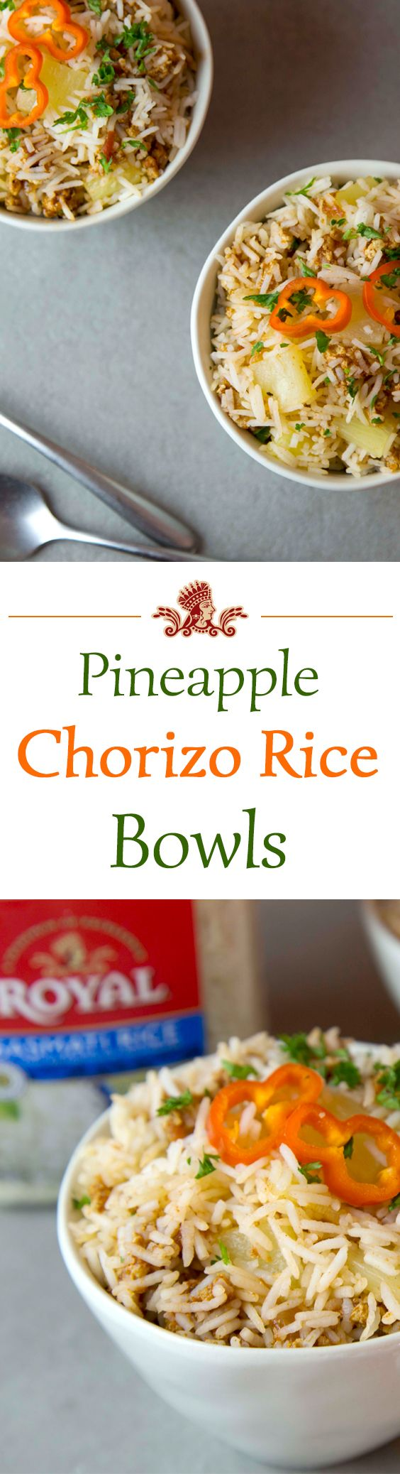 Want to try something different? How about a Pineapple Chorizo Rice Bowl made with Royal Basmati Rice.