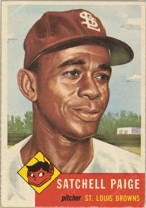 """Card Number 220, Leroy Robert """"Satchel"""" Paige, Pitcher, St. Louis Browns, from the series Topps Dugout Quiz (R414-7), issued by Topps Chewing Gum Company 1953 #Baseball #BaseballArt #Vintage"""