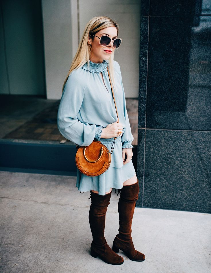 blue drop waist dress over the knee brown boots  #winterstyle #winterfashion #fashionblog