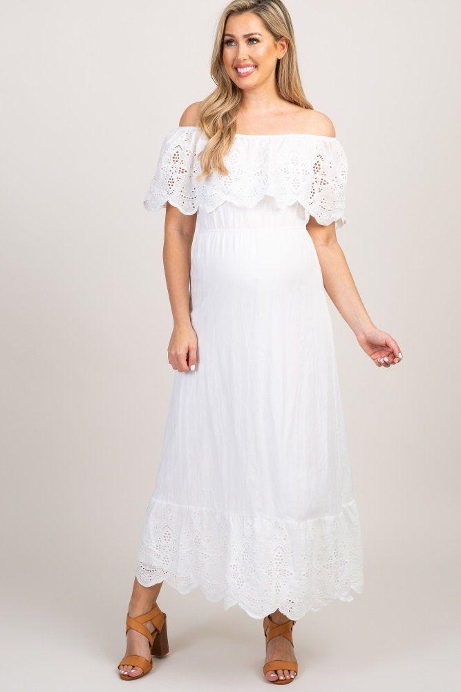 1daf3843f69 White Eyelet Off Shoulder Maternity Maxi Dress in 2019