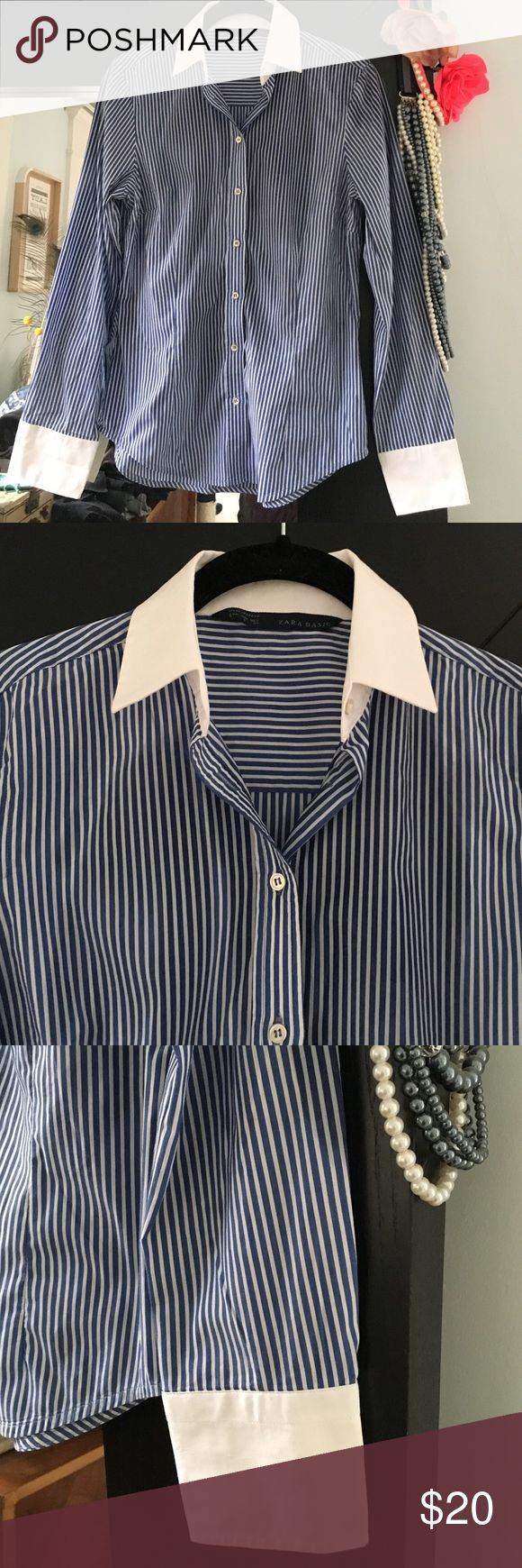 Zara Ladies' Blue & White Shirt Blue and white vertical striped button down cotton shirt with contrasting white collar and cuffs. Perfect for work, dress up with some pearls! Zara Tops Blouses