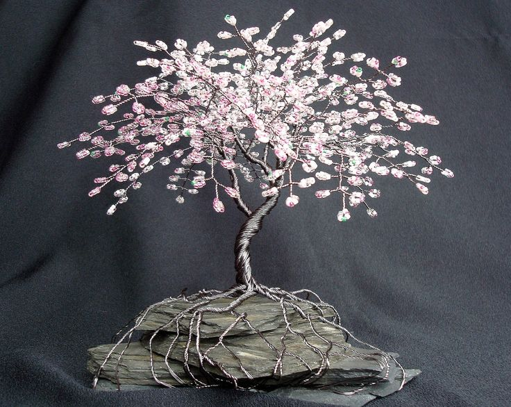 Cherry Blossom Spring Colors Beaded Bonsai Wire Tree Sculpture - CUSTOM made to order. $86.00, via Etsy.