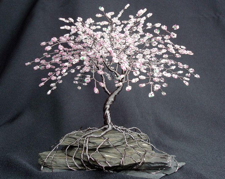 Cherry Blossom Spring Colors Beaded Bonsai Wire Tree by cassandraz