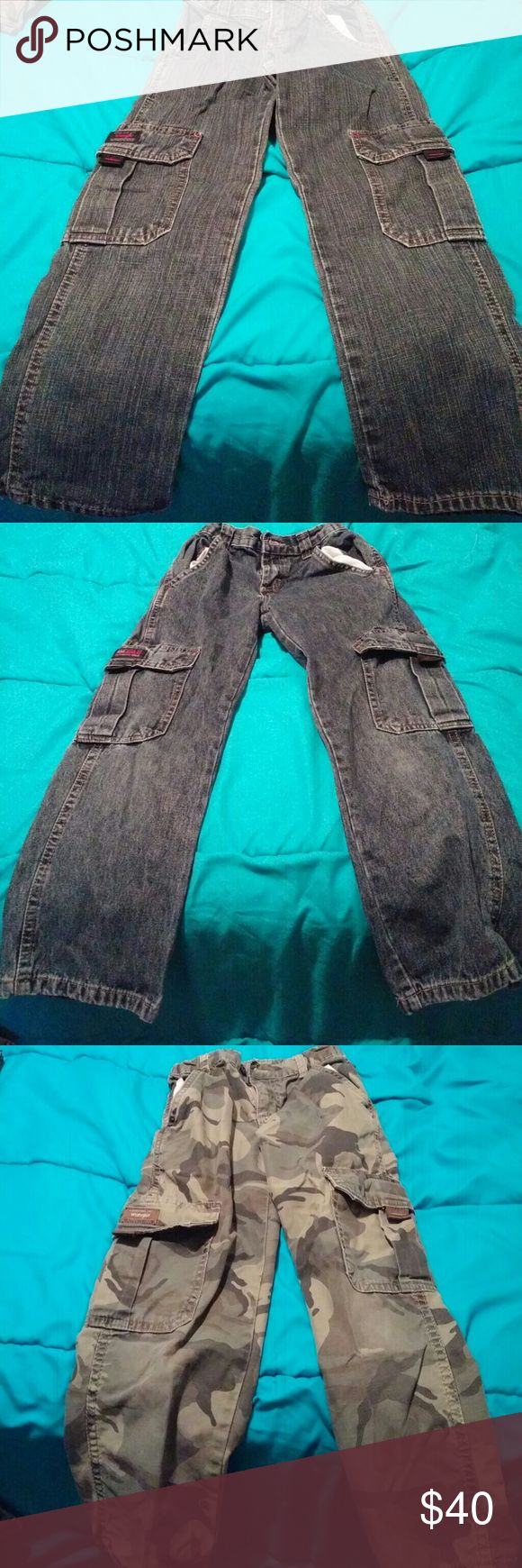 Boys Wrangler jeans size 8 slim Boys Wrangler jeans size 8 slim with an adjustable waist. The first 3 pair are cargo and the last pair is straight leg. Wrangler Jeans