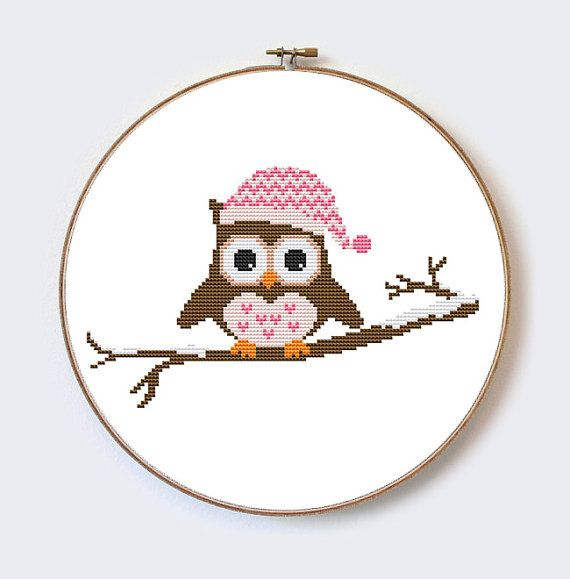 Owl In Hat on Branch modern cross stitch pattern  by MilaliParade