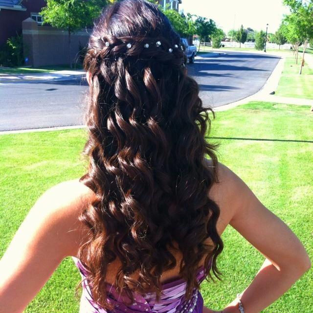Brunette Curls &  Waterfall Braid