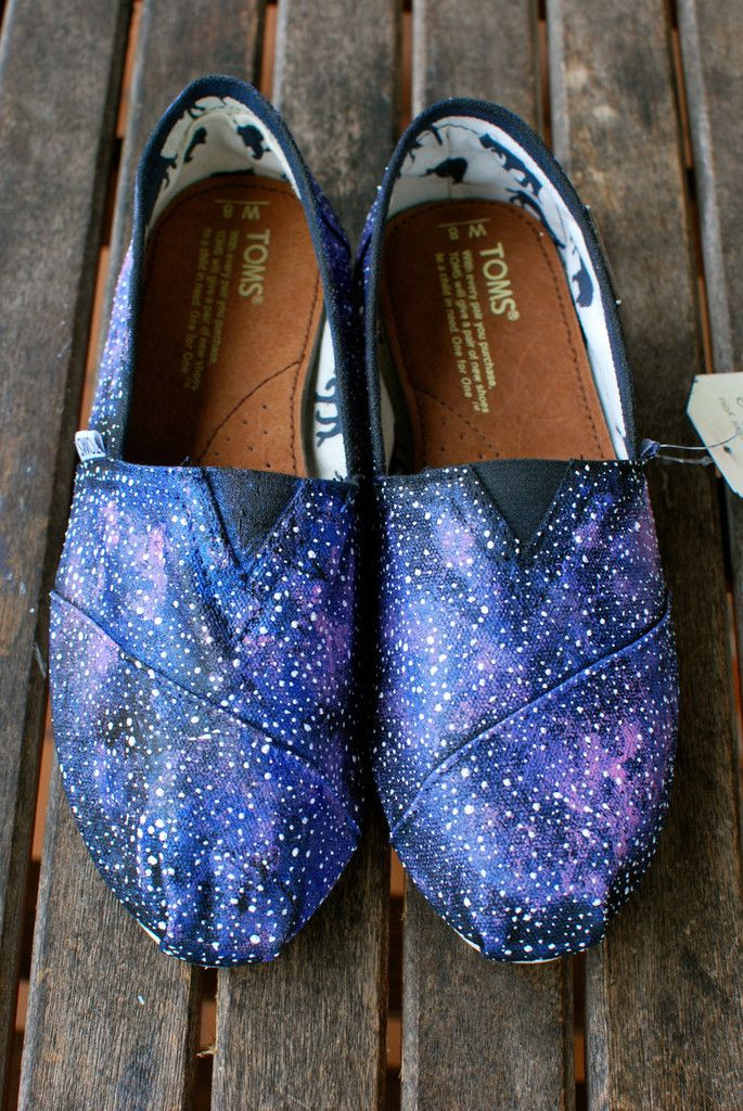 These one-of-a-kind hand-painted shoes feature a galaxy pattern all over the shoes. Carefully hand painted, these custom toms give you the feeling of floating through outter space. Each star in this g