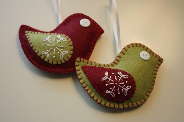 Felt Christmas Bird Ornaments