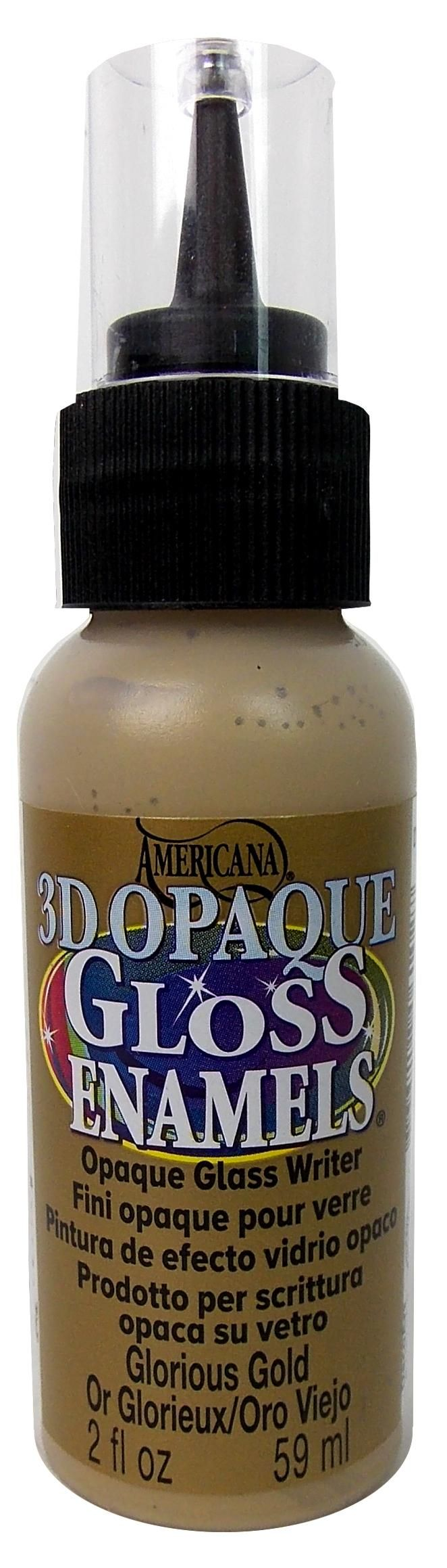 DecoArt Americana Gloss Enamel Paint is a multi-surface paint that adheres to glass, wood, papier mache, plaster, resin, ceramics, and more. Decorate ordinary glass items, flea market finds and more for your home. Painted glassware may be baked for a dishwasher-safe finish. Easy-to-squeeze bottle with writer-tip. Opaque, dimensional paint. 2 oz. #71 Opaque Writer 3D Glorious Gold.