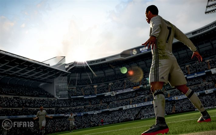 Download wallpapers FIFA 18, Cristiano Ronaldo, 4k, 2017 games, football simulator, CR7, FIFA