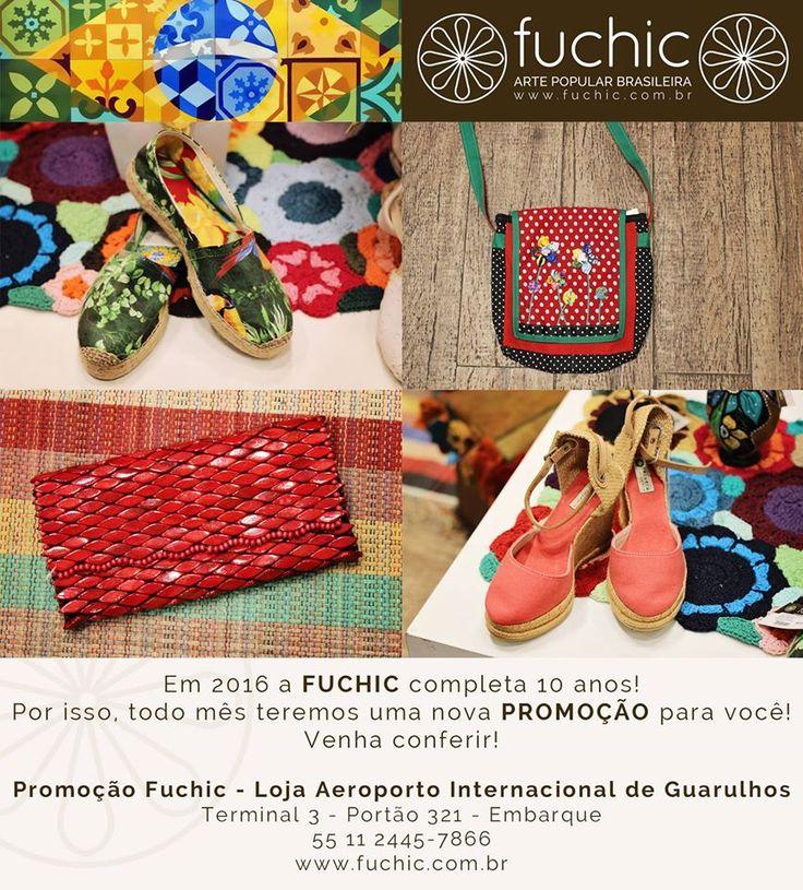 Última chance para aproveitar a nossa promoção de bolsas e sapatos! Estes são os produtos com 30% de desconto na loja do Aeroporto de Guarulhos. Venha nos visitar e comemorar os 10 anos da Fuchic. O desconto é válido para todas as lojas, confira os endereços no site www.fuchic.com.br.