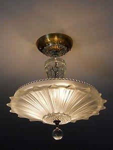 Art Deco Light Fixtures 1934 | 30's Art Deco Vintage Ceiling Light Fixture Petal Chandelier Antique ...