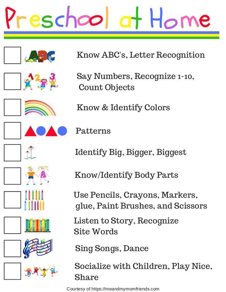 Preschool at Home - Free Printable Checklist | Preschool ...