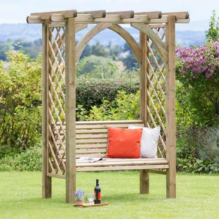 <p>Beautifully structured, the Meridian Pergola Seat is the perfect stress release for sitting back and relaxing within the garden. Featuring lattice trellis down both sides, you can grow your favourite climbing plants, making this seat into a stunning garden feature. Constructed from FSC treated timber, this Pergola Seat has a 10 year guarantee against wood rot. Solid and sturdy in structure, this Pergola will give you many years of appreciation.</p>