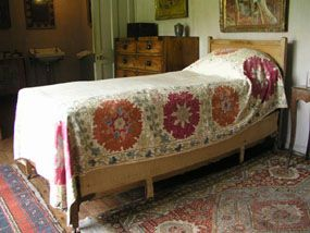 19th century Bokhara suzani bedspread at Charleston, the home of Vanessa Bell and Duncan Grant