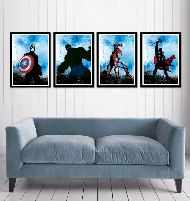 Captain America, Hulk , Iron Man and Thor Superheroes Poster Set. $50.00, via Etsy.