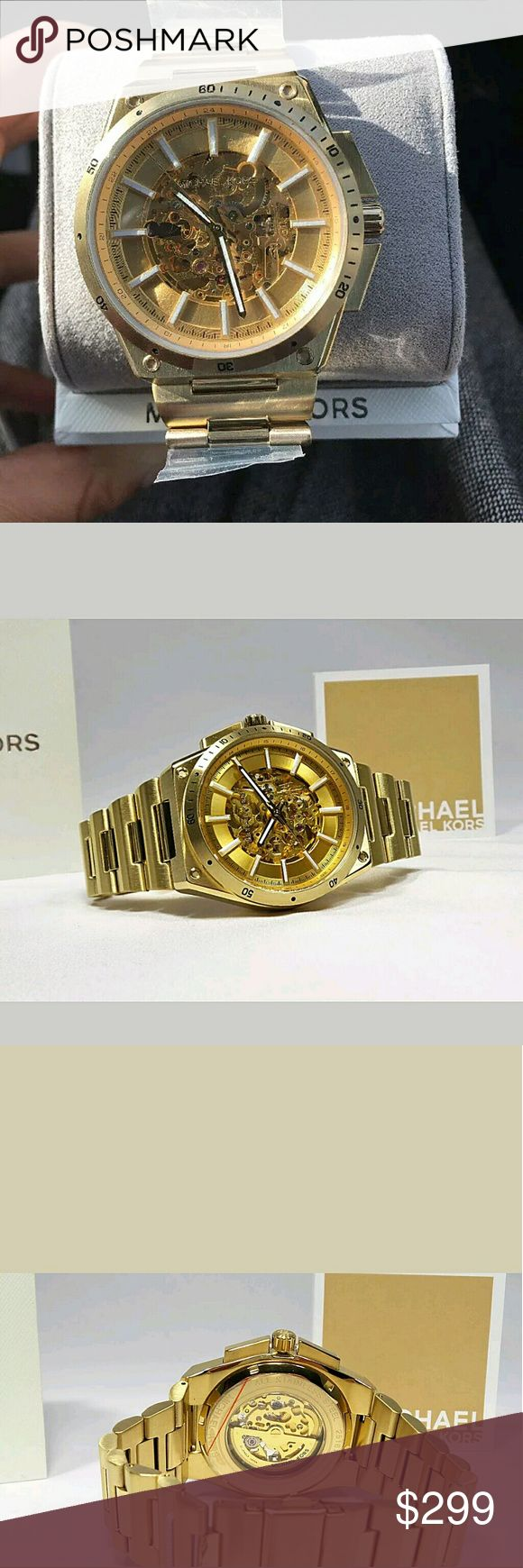NWT Michael Kors Men's Automatic Skeleton Watch NWT Michael Kors Men's  Gold m-Tone Automatic Skeleton Watch.   FIRM PRICE FIRM PRICE FIRM PRICE  $299.00 . AUTHENTIC WATCH  . AUTHENTIC BOX  . AUTHENTIC MANUAL   SHIPPING  PLEASE ALLOW FEW BUSINESS DAYS FOR ME TO SHIPPED IT OFF.I HAVE TO GET IT FROM MY STORE.   THANK YOU FOR YOUR UNDERSTANDING. Michael Kors  Accessories Watches