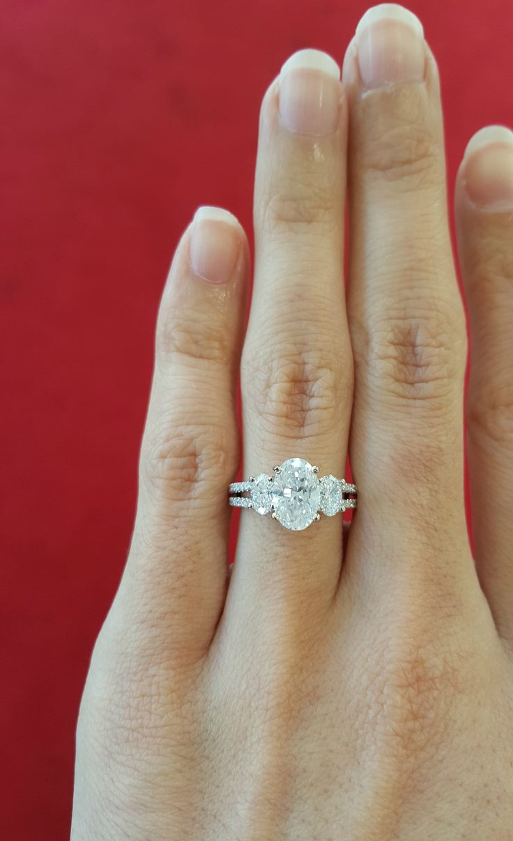 Split Shank Engagement ring, 3 stone Engagement Ring, 3 stone oval Engagement Ring, Oval Engagement Ring