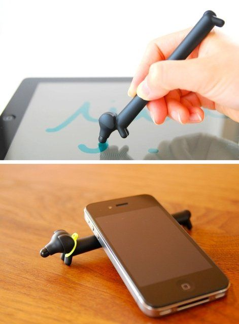 Wiener dog stylus and iPhone holder. @Courtney Baker Powers Hord, you, Kev, and Jay need these!