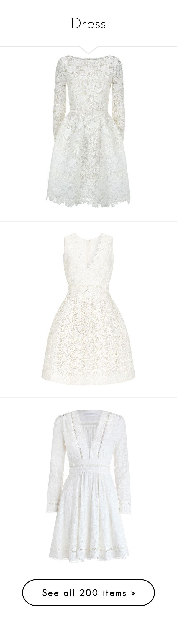 """Dress"" by alejaborrayo ❤ liked on Polyvore featuring dresses, vestidos, short dresses, oscar de la renta, long sleeve cocktail dresses, white lace cocktail dress, short lace dress, white mini dress, short white dresses and white dress"