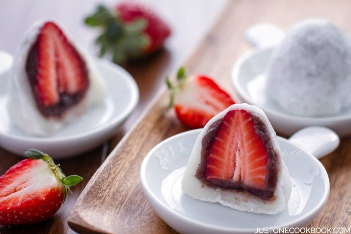 Strawberry Daifuku is a soft tender white mochi with sweet anko wrapped around a whole strawberry; it's the popular spring time sweet in Japan.