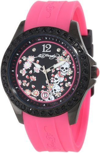 Ed Hardy Women's TE-PK Techno Pink Watch Ed Hardy. $45.44. Don ed hardy skull and roses tattoo. Swarovski black crystals. Hardened mineral crystal; 2 year limited warranty. Water-resistant to 100 M (330 feet). Stainless steel. Save 55%!