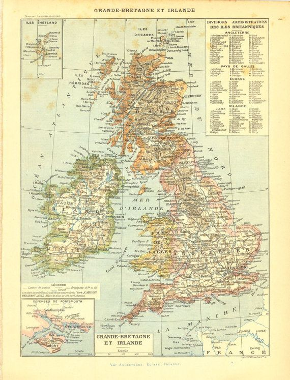 1910s Map of Great Britain Flag Military by CarambasVintage, $16.00