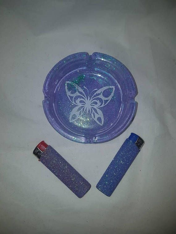 Ashtrays glittered ashtray butterfly bar accessories