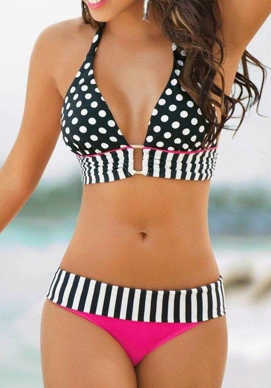 Black-White Polka Dot 2-in-1 Cute Swimwear
