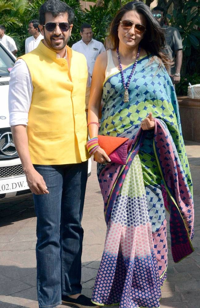 Kabir Khan with wife Mini Mathur at Arpita Khan Sharma's baby shower. #Bollywood #Fashion #Style #Beauty #Hot #Desi #Saree #WAGS