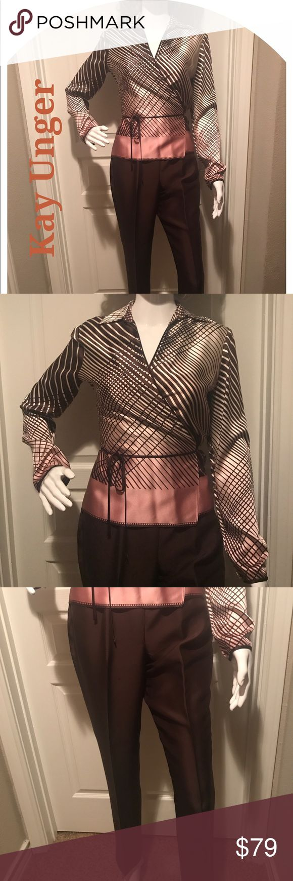 Kay Unger separates Silk Wrap Size 4, Pants Size 2 Kay Unger separates Silk Wrap Size 4, Pants Size 2 will sell separately or as a set just make an offer Kay Unger Other