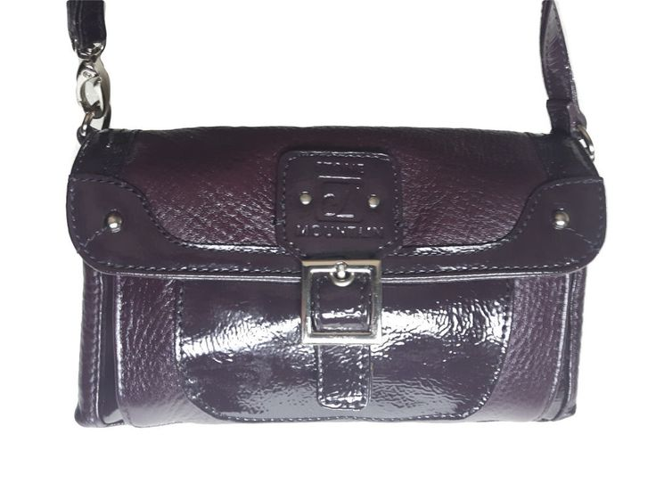 STONE MOUNTAIN Genuine buttery soft Aubergine Purple Patent & Leather demi purse #AuthenticSTONEMOUNTAINluxurydesignertote #BaguetteClutchCrossbodyEveningBagMessengerShoulderBagWristlet