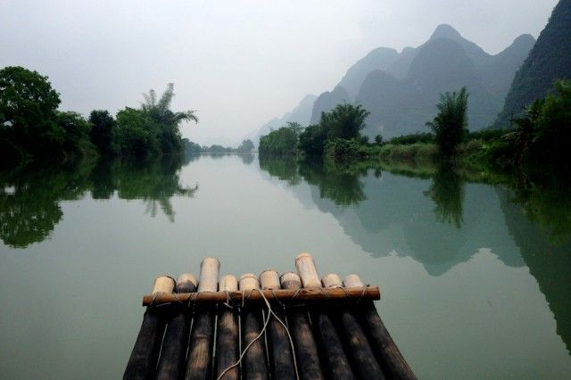 Rafting down the Li River in Yangshou, China. Done this!!! It was so beautiful