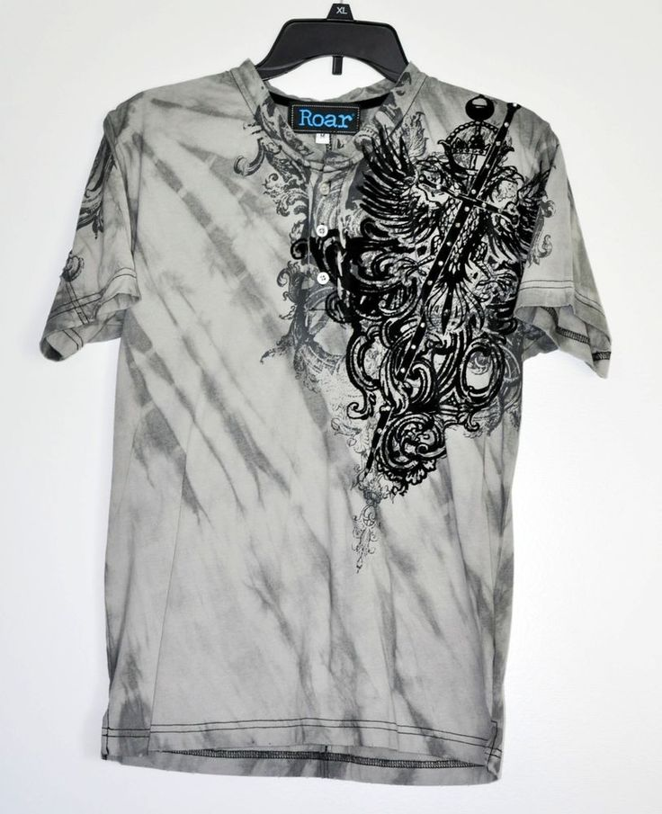 ROAR MEN T-SHIRT Rhinestone Embroidered Short Sleeve Three Buttons Front size M #Roar #EmbellishedTee