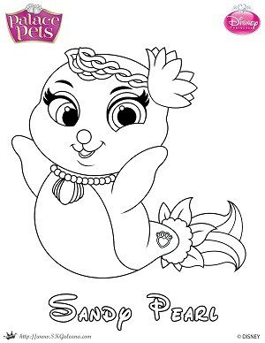 Free Princess Palace Pets Coloring Page of Sandy Pearl