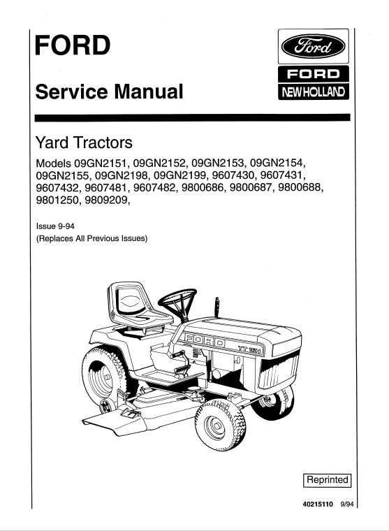 Ford YT12.5, YT14, YT16 and YT16H Yard Tractor Service