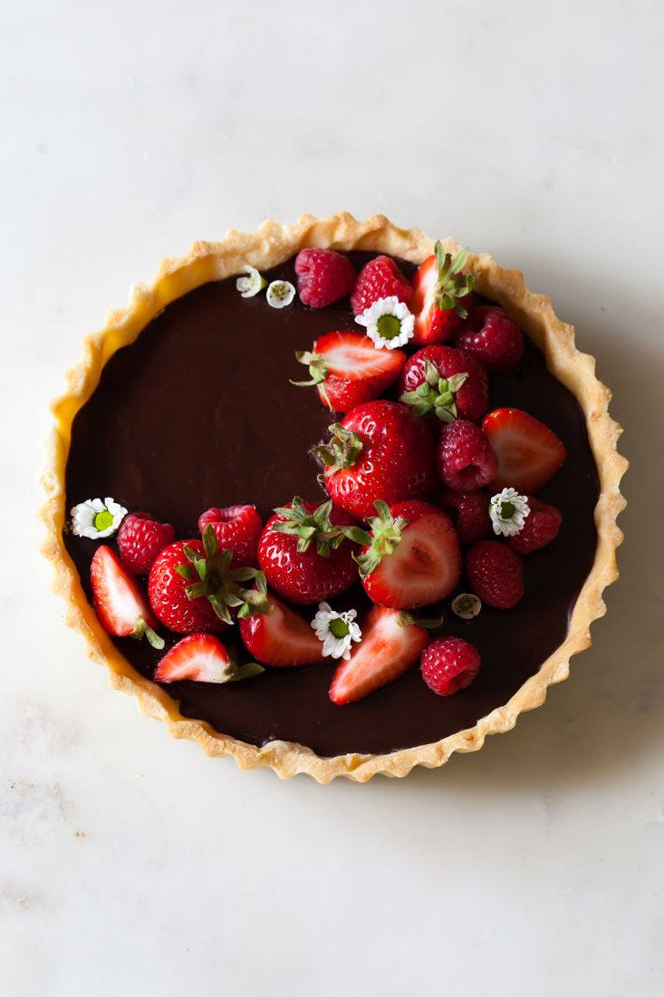 Classic Chocolate Tart with buttery crust, raspberries, and strawberries