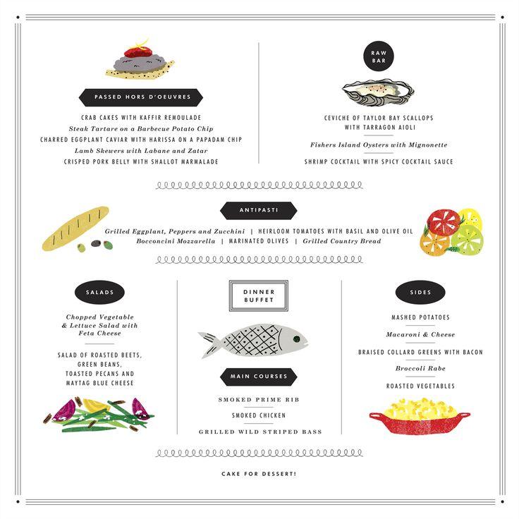 Erin Jang wedding menu artwork. Reminds me of those 50s and 60s cookbook illustrations