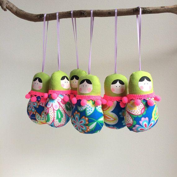 Бабушка куклы, куклы 6 Бабушка установить.  Майкл Миллер ткани, многоцветная Милый маленький подарок, талисман или талисман.  Рождество, свадьба, дом-деко