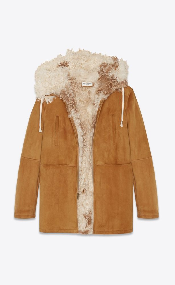 1a33394752e SAINT LAURENT Leather jacket Woman Parka in cognac suede with a shearling  collar a_V4