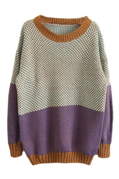 Color Block Purple Jumper