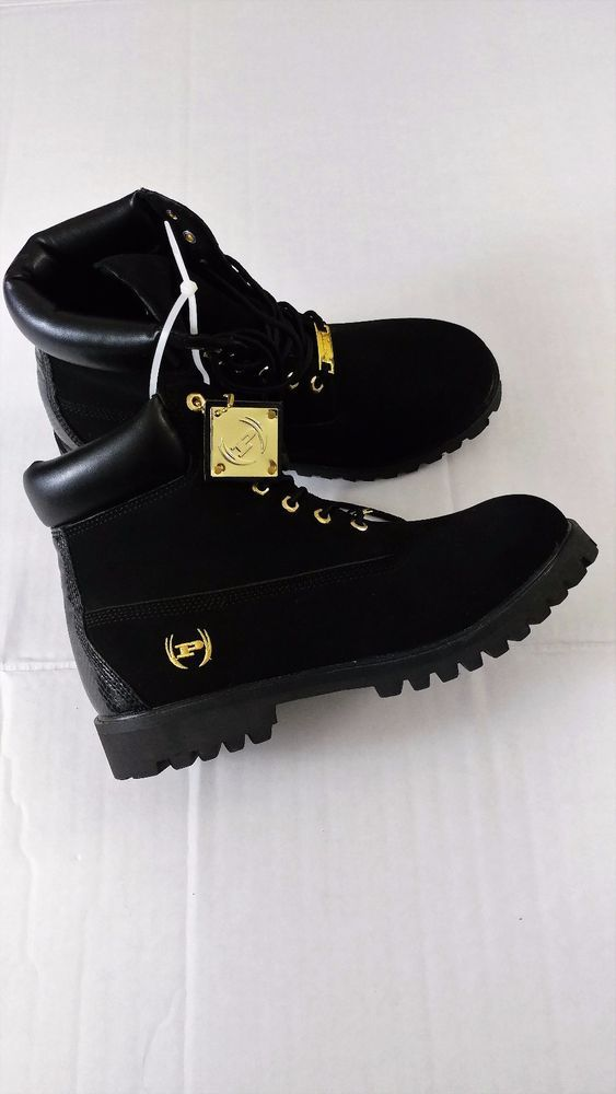 e380fa47cfa Phat Farm Men's Black Gold Boots Size 9.5 NEW! HipHop Urban ...