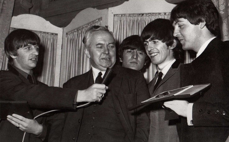 Harold Wilson and the Beatles. Wilson was UK Prime Minister in 1966.