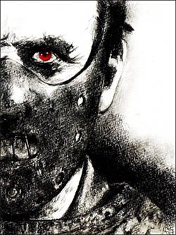 Dr. Hannibal Lecter by Rgveta on DeviantArt..combo with the death head moth, keep eyes as only colour?