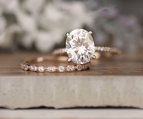 Rose Gold Verlobungsring, Moissanite Oval 10x8mm und Diamant-Braut-Ring-Set, für immer klassische 3.00 CTS Moissanite Verlobungsring – Ringe