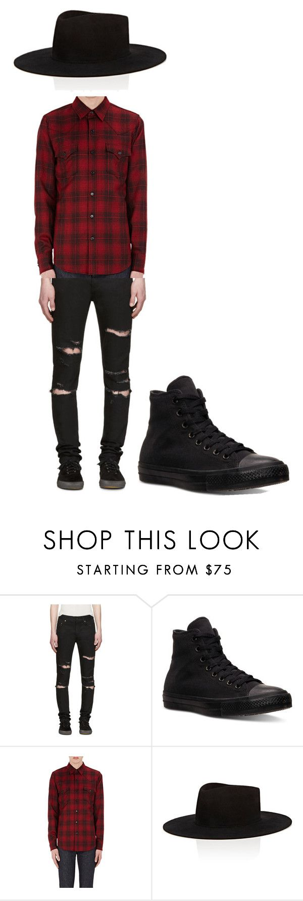 """pop punk style"" by martinsbernardo ❤ liked on Polyvore featuring Yves Saint Laurent, Converse, Off-White, men's fashion and menswear"