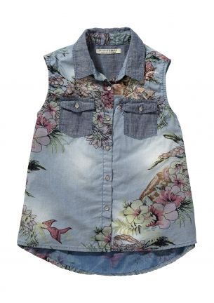 We love this Scotch R'belle sleeveless denim shirt for girls | www.eb-vloed.nl